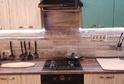 Кухня пленка МДФ патина миртовая + пластик ольха