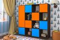 Детская ЛДСП Оранжевый + Синий + Дуб венге